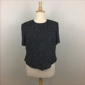 Adrianna Papell Floral Beaded Short Sleeve Top